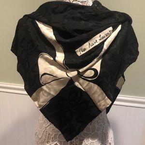 Vintage Yves Saint Laurent Large Silk Scarf, B & W